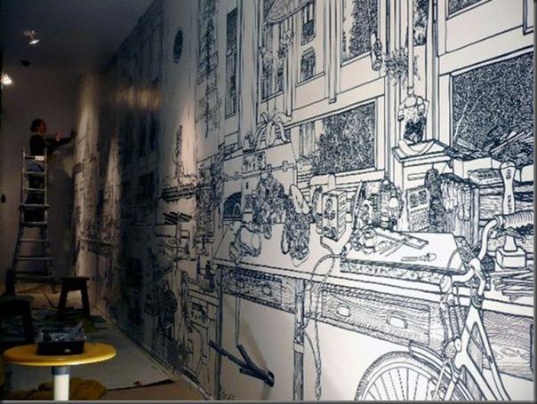 Arte em preto e branco com marcador em parede (6)