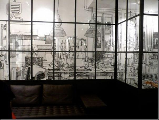Arte em preto e branco com marcador em parede (5)