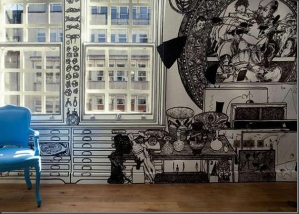 Arte em preto e branco com marcador em parede (3)