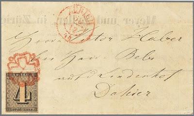 Le premier timbre de suisse, sur lettre