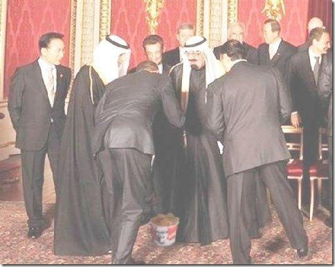 Obama bowing in Saudi Arabia for fried chicken