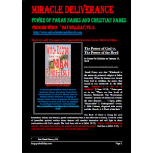 Miracle Deliverance Power Of Pagan Names And Christian Names Cover