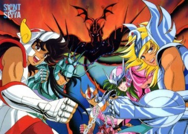 Seiya, Shiryu, Ikki, Shun e Hyoga, Mestre Ares ao fundo