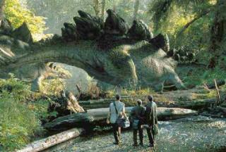 a equipe observa estegossauros