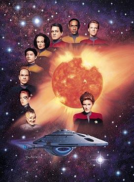 de cima para baixo: Paris, Tuvoc, Chakotay, Torres, Kim, o médico, Sete, Neelix, a Voyager e Janeway