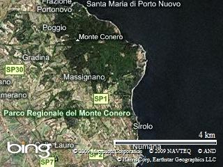 mappa aerea della Riviera del Conero