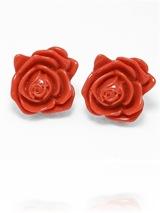 Coral Rose Earrings