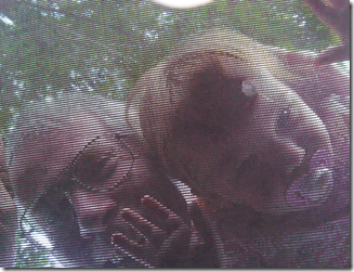 grampie and annie through trampoline