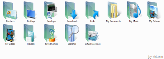 Vista like icons in Windows 7 user folder