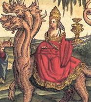 La papesse Jeanne reprsente comme l'Antchrist, monte sur la Bte de l'Apocalypse