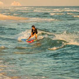 Surfs Up by Barton Bishop - Sports & Fitness Watersports ( point, surfer, skim board, waves, gulf, alabama, surf )