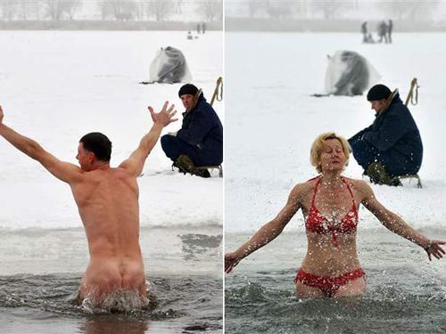 """Homem nada nu em lago """"congelado"""""""
