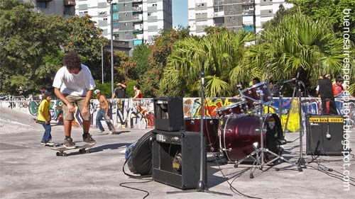 "Skater and Music at ""Parque del Centenario"" in Buenos Aires"