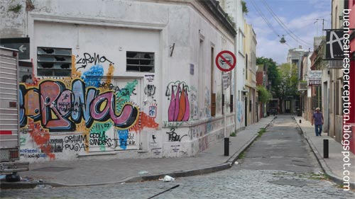 Urban graffiti wall in the narrow alley Coronel Cabrer in Palermo Soho Buenos Aires Argentina
