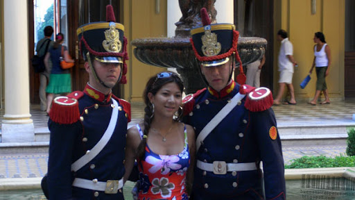 Presidential palace guards with a girl in Buenos Aires, Argentina