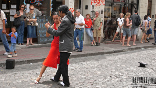 Tango Couple Dancing in the Streets of San Telmo in Buenos Aires, Argentina