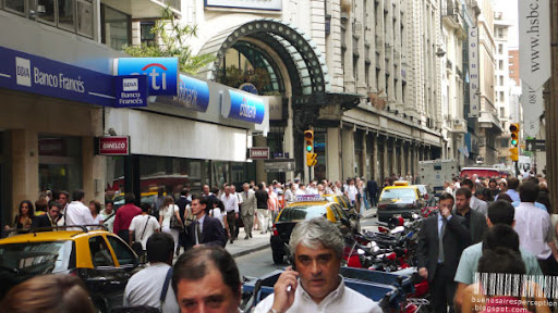 Zig-Zaging in Stop and Go Mode through the Crowded Streets of Microcentro in Buenos Aires, Argentina