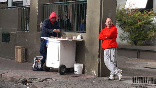 Two Guys at a Sweets Stand near Plaza Dorrego in the San Telmo Neighborhood in Buenos Aires, Argentina