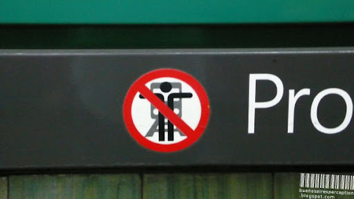 Don't Hug the Train Sign in the Subte of Buenos Aires, Argentina