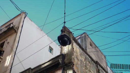 Street Light Hung in the Center of a Street in Buenos Aires, Argentina