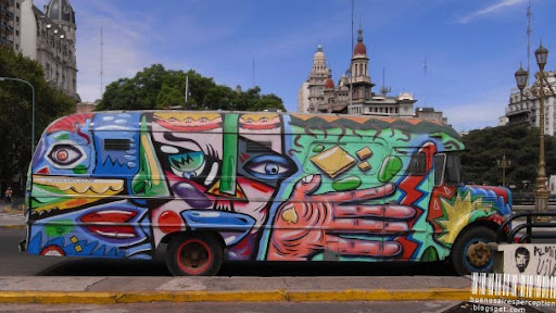 Graffiti on Vintage Camper Van near the National Congress Building in Buenos Aires, Argentina