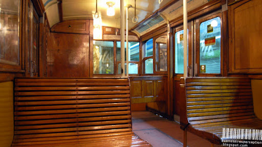 Wooden Interior of Subte Linea A in Buenos Aires, Argentina