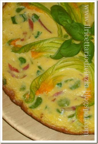 Frittate con fave, speck e fiori di zucchine