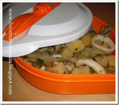 Calamari patate e carciofi