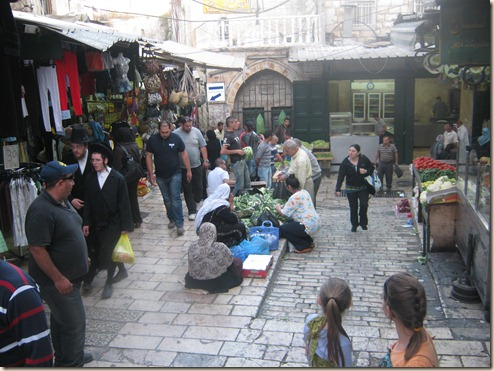 Market inside Damascus Gate (Jews and Arabs)