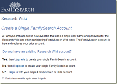 FamilySearch Wiki Sign In Message