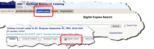 Detail from ARC shows Digital Copies search button and Digital Copies tab