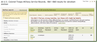 Abraham Annison search results on Ancestry.com