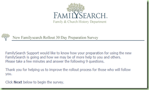 This is the first screen of the 30-day preparation survey