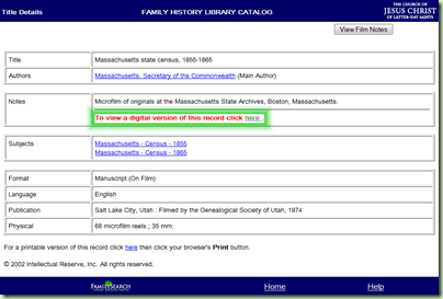 Catalog entry showing link to Record Search