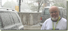NGS attendee, Randy Seaver, enjoys a spring snow storm in SLC