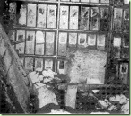 Newspaper photographs show the fire damage