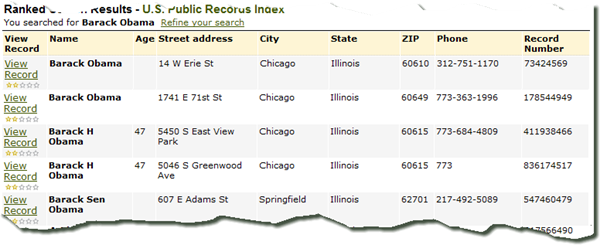 Search results from the U.S. Public Records Index [1984-current]