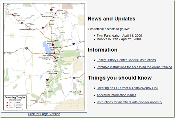 Screen shot of the News and Updates page