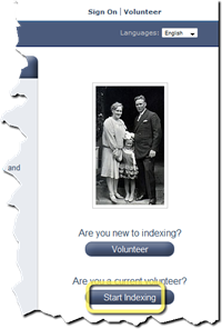 Click the Start Indexing button on the FamilySearch Indexing web page
