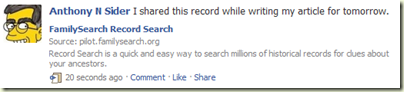 A shared record from Record Search looks like this on Facebook