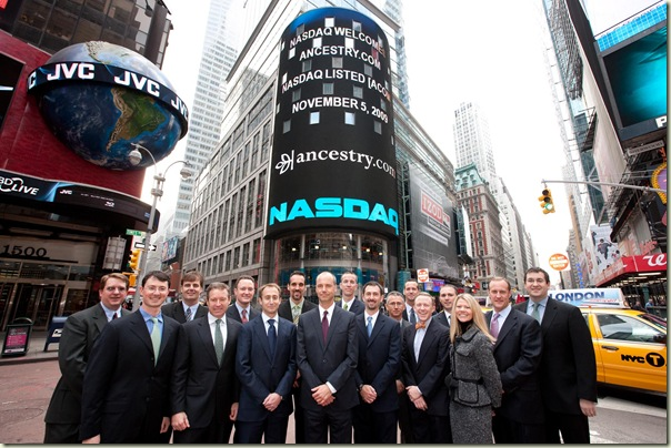 Ancestry.com corporate management celebrates IPO