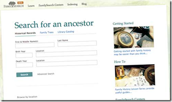 The beta.FamilySearch.org search form had spaces for both birth and death events