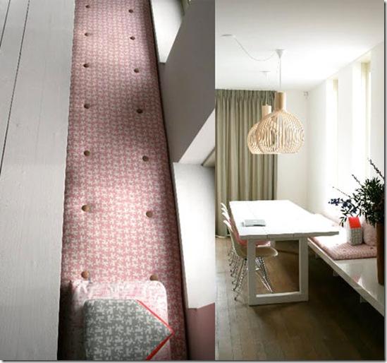 Casa de valentina - via Bloesem - banco no lugar das tradicionais cadeiras