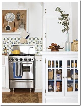 Cozinha branca e azul