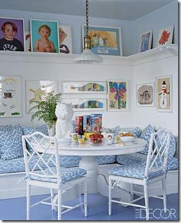 Sala de jantar com sofé. Via Belle Maison