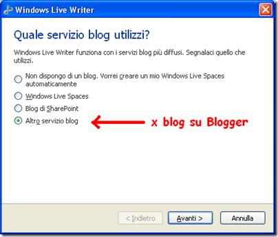 aggiungere blogspot live writer