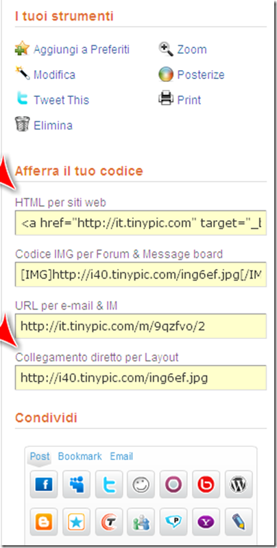 condividere html link tinipic