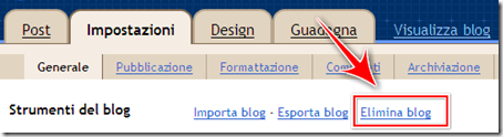 come cancellare blog su blogger