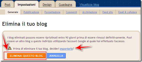 come eliminare blog blogger