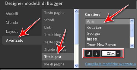 come cambiare dimensione carattere titolo post blogger